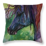 Blue Horse With Red Mane Throw Pillow