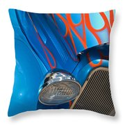 Blue Hot Rod Throw Pillow