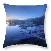 Blue Hour At Panglao Port Throw Pillow