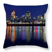 Blue Hour In Cincinnati Throw Pillow