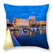 Blue Hour Zadar Waterfront View Throw Pillow