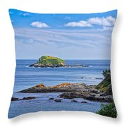 Blue House With An Ocean View Throw Pillow