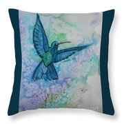Blue Hummingbird In Flight Throw Pillow