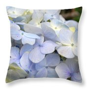 Blue Hydrangea Flowers Throw Pillow