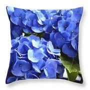Blue Hydrangea Throw Pillow