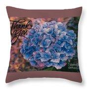 Blue Hydrangea Thank You Throw Pillow
