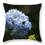 Blue Hydrangea With Bumblebee Throw Pillow