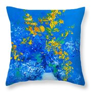 Blue Hydrangeas And Golden Chain Flowers Throw Pillow