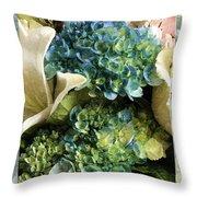 Blue Hydrangeas Painterly Throw Pillow