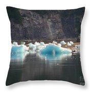 Blue Ice Flows Throw Pillow
