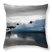 Blue Ice Iceland Throw Pillow