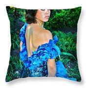 Blue Ice Princess Throw Pillow