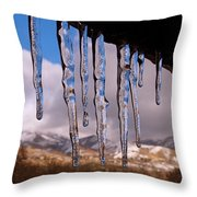 Blue Ice Throw Pillow by Rona Black