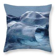 Blue Ice Sculpture Throw Pillow