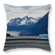 Blue Icebergs On Grey Lake In Patagonia Throw Pillow