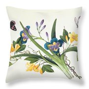 Blue Iris And Insects Throw Pillow
