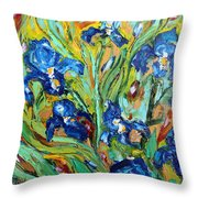 Blue Iris Throw Pillow