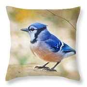 Blue Jay - Digtial Paint Throw Pillow