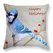 Blue Jay Happy Holidays Throw Pillow