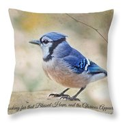 Blue Jay With Verse Throw Pillow
