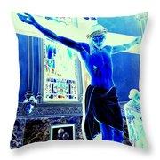 Blue Jesus Throw Pillow