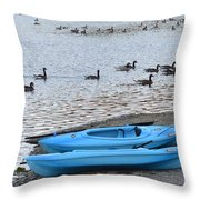 Blue Kayaks On The Shore  Throw Pillow