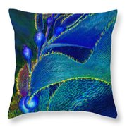 Blue Kelp Throw Pillow