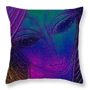 Blue Lady Throw Pillow