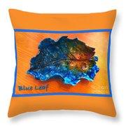 Blue Leaf Ceramic Design 3 Throw Pillow