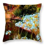 Blue Lily Water Garden Throw Pillow