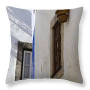 Blue Line To The Corner Throw Pillow
