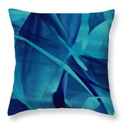 Blue Linear Mesh No 1 Throw Pillow