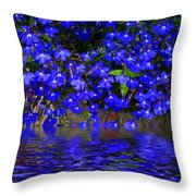 Blue Lobelia Throw Pillow