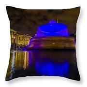 Blue London Fountain Throw Pillow