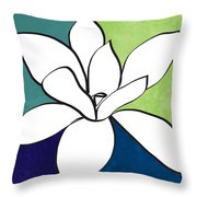 Blue Magnolia 1- Floral Art Throw Pillow