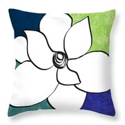 Blue Magnolia 2- Floral Art Throw Pillow