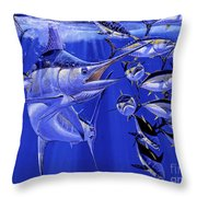 Blue Marlin Round Up Off0031 Throw Pillow by Carey Chen