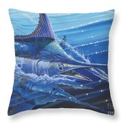 Blue Marlin Strike Off0053 Throw Pillow by Carey Chen