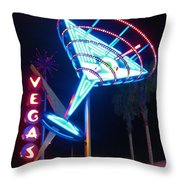 Blue Martini Glass Las Vegas Throw Pillow