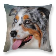 Blue Merle Australian Shepherd Throw Pillow