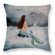 Blue Mermaid Throw Pillow