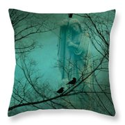 Angel And Crows In A Blue Mist Throw Pillow