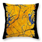 Blue Monkeys No. 41 Throw Pillow