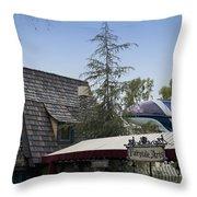 Blue Monorail Fairytale Arts Disneyland Throw Pillow