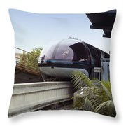 Blue Monorail In The Station Disneyland 01 Throw Pillow