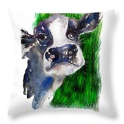 Blue Moo Throw Pillow