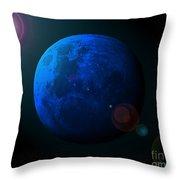 Blue Moon Digital Art Throw Pillow