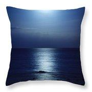 Blue Moon Rising Throw Pillow by Peta Thames