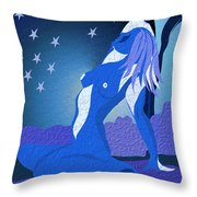 Blue Moon Rising Throw Pillow