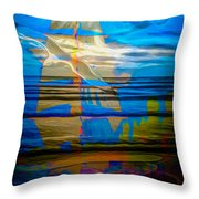 Blue Moonlight With Seagull And Sails Throw Pillow